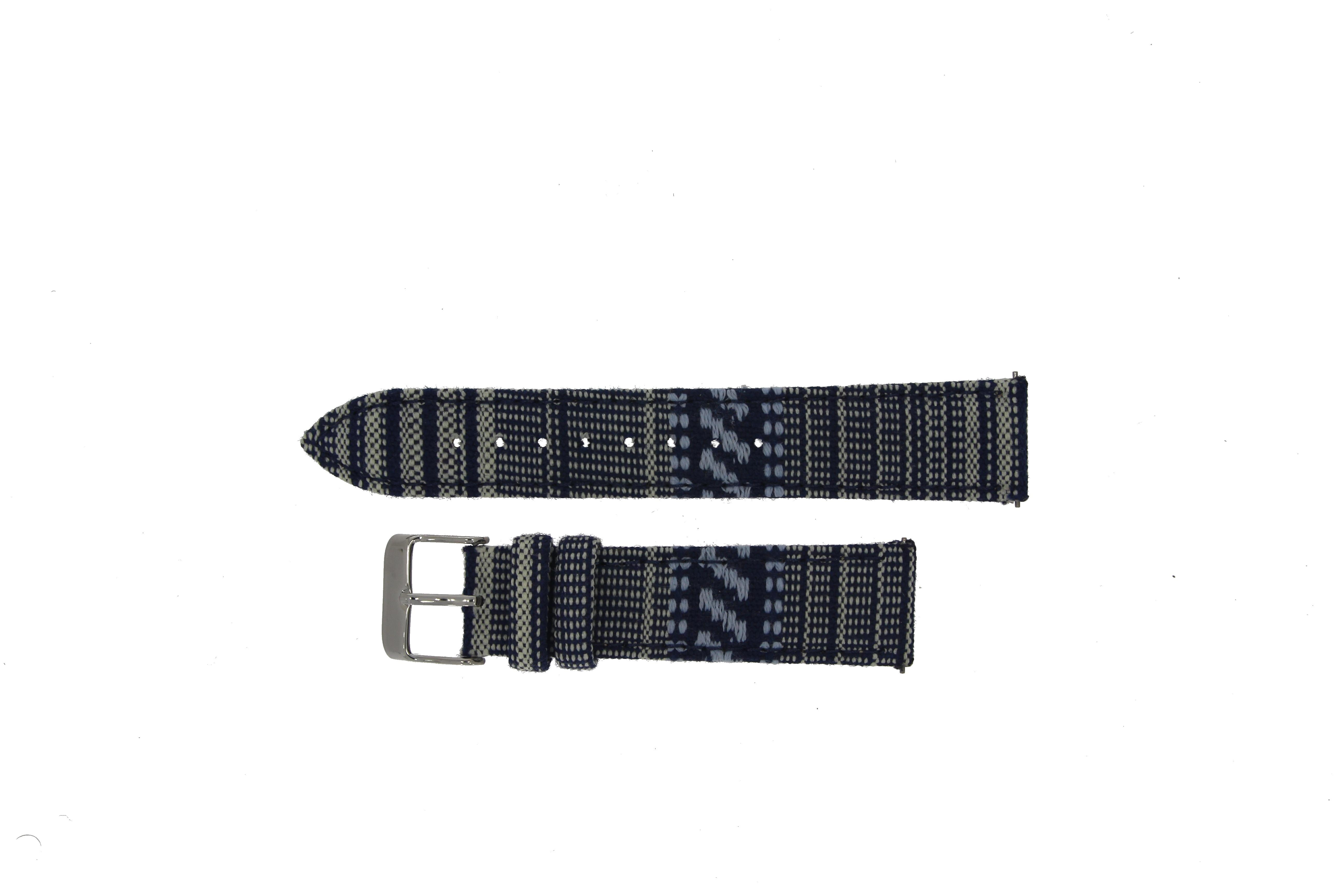 Textil - Leder - Band (20mm) blue motif für Samsung Galaxy