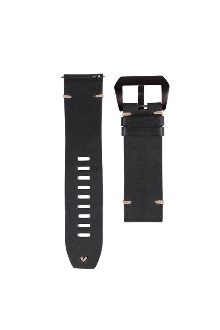 Vintage Cordovan Lederband 010-Black 20mm/Ecru