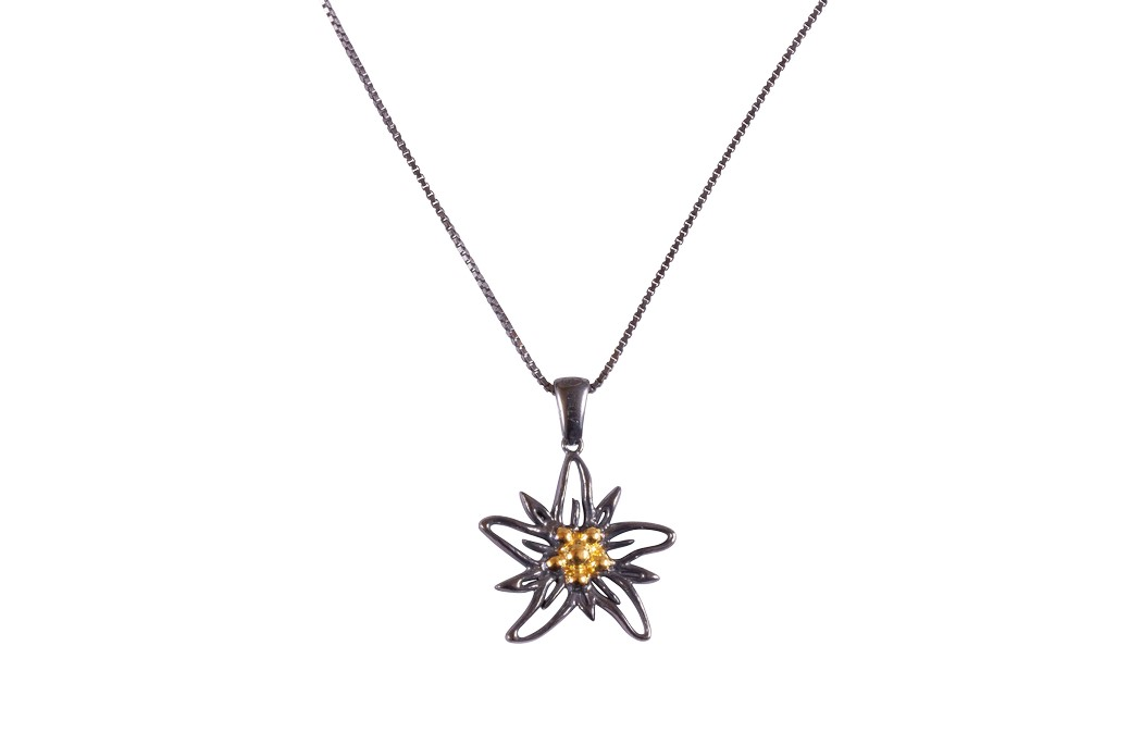 Edelweiss Collier Silber vintage goldplated EB010